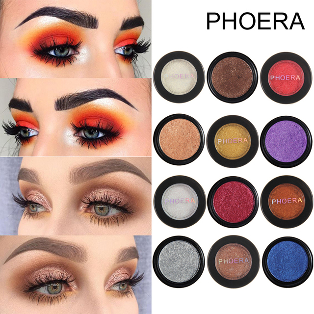 PHOERA Metal Eyeshadow Makeup Palette Red Black Color Glitter Eye Shadow Natural Eyes Make Up maquillage TSLM2 5