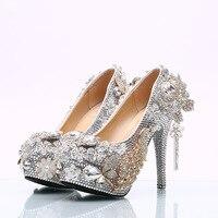 Обувь с украшением в виде кристаллов женские каблуки серебряные аксессуары аппликация принцессы с бахромой программы празднования фестив