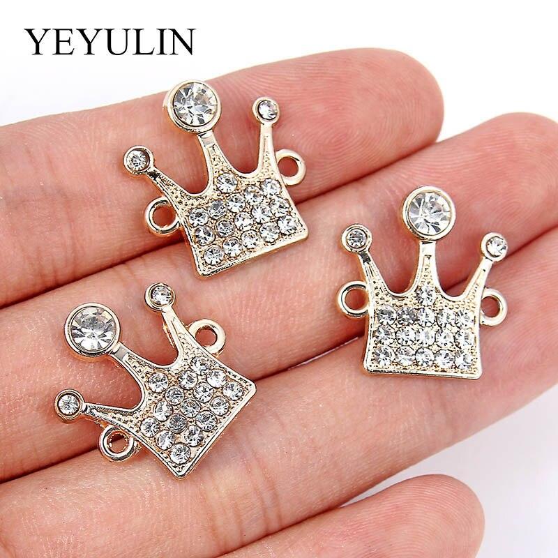 10 Pcs Golden Crystal Crown Shape Alloy Connectors Bracelet Charm Necklace Pendant For DIY Fashion Jewelry Making