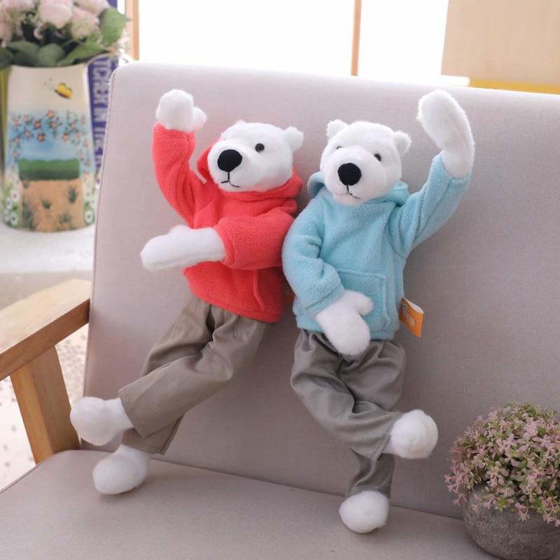 Polar Bear Plush Toys Can be Twisted Plush White Bear With Sweatshirt Stuffed Animal Figure Doll Toys For Kids Children Gift