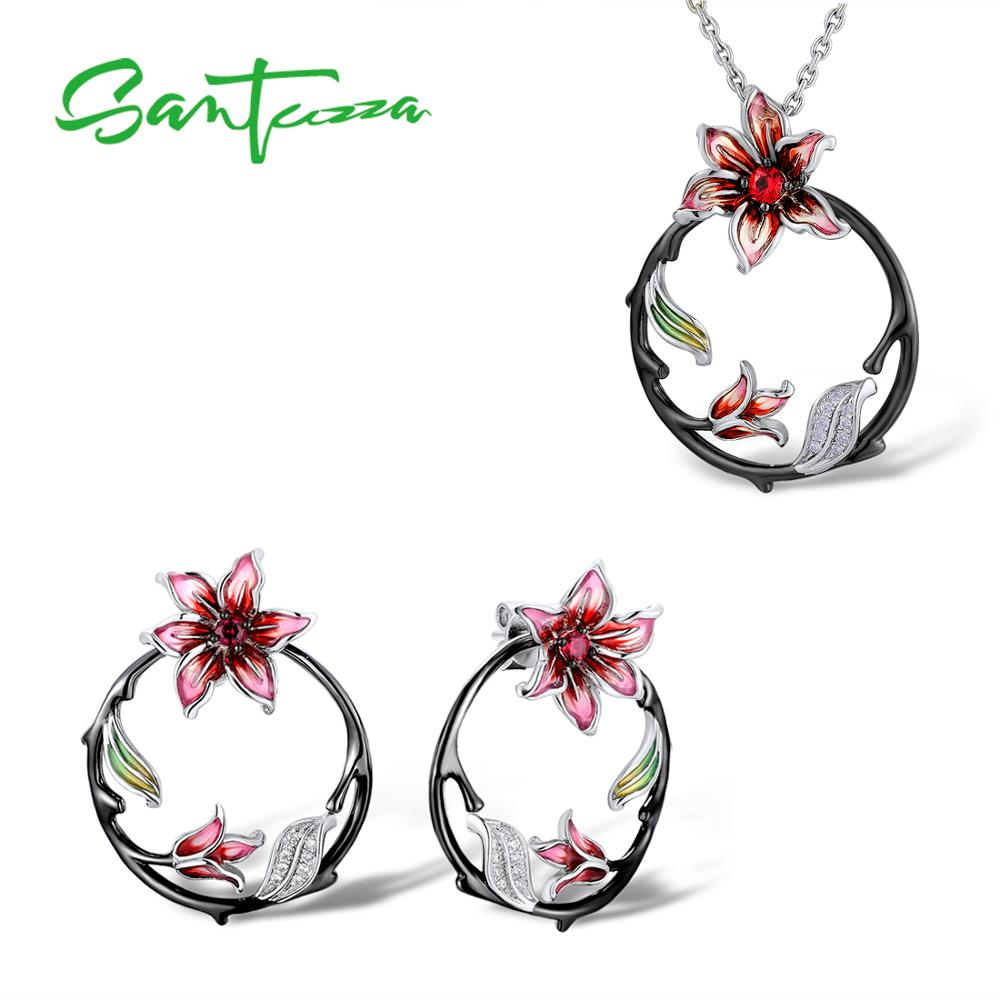 SANTUZZA Silver Jewelry Set For Women Branch Flower Earrings Pendant Set 925 Sterling Silver Fashion Jewelry