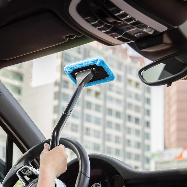 Microfiber Car Window Cleaner Long Handle Washable Brush