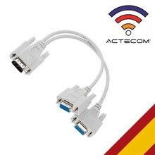 ACTECOM Cable Duplicador Adaptador de Imagen SVGA HDB15 de Macho a 2 VGA Hembra Divisor Splitter Video Imagen para Monitor Gris