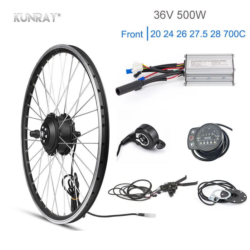 Kun ray 36V 500W Electric Bike Kit 20 26 27.5 inch Front Motor Wheel Kit Electric Kit For Bicycle Wheelbow Cycling Set DIY Part|Electric Bicycle Motor| |  - title=