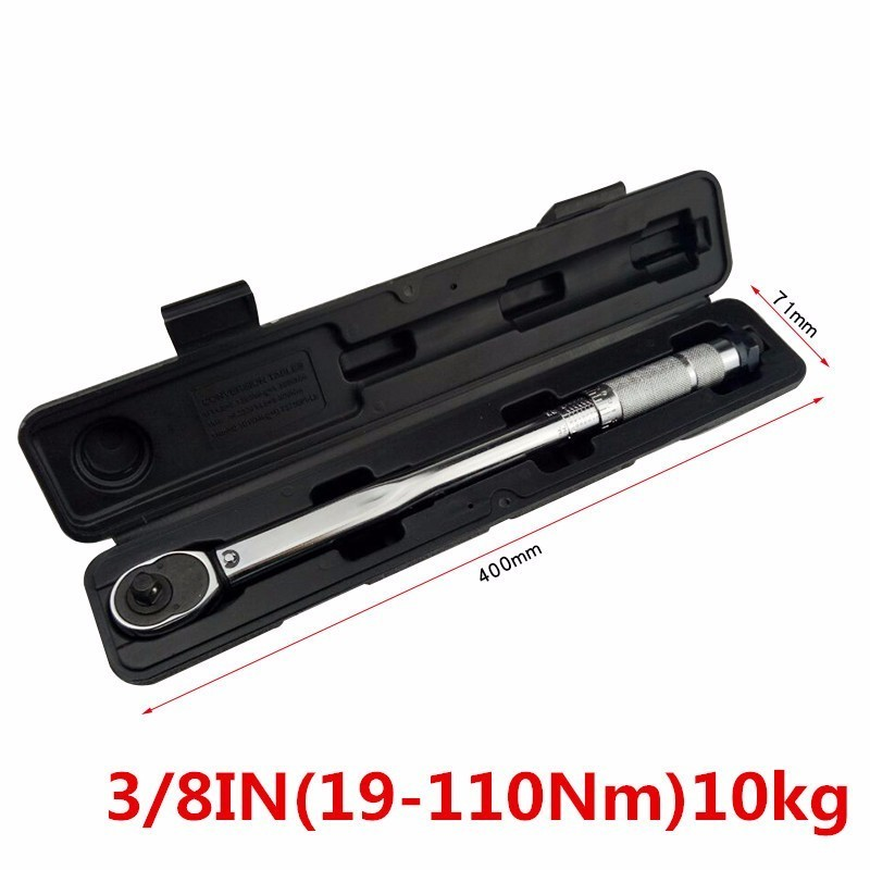 Adjustable Torque Wrench 9.5mm 3/8'' Inch Drive Car Ratchet 19-110 Nm 10kg Hand Wrench Bicycle Repair Tool Kit