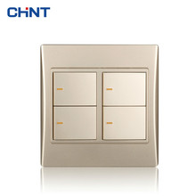 CHINT Wall Switch 120 Type NEW9L Toggle Light Switches Golden Four Gang Two Way Wall Socket For Home chint lighting switches 118 type switch panel new5d steel frame four position six gang two way switch panel