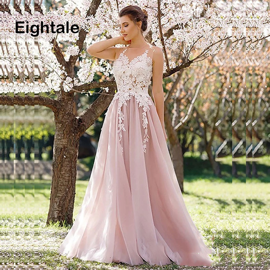 Eightale Boho Wedding dress Pink Princess Appliques A Line bridal Gown Beach Wedding Gown Free Shipping vestido de noiva
