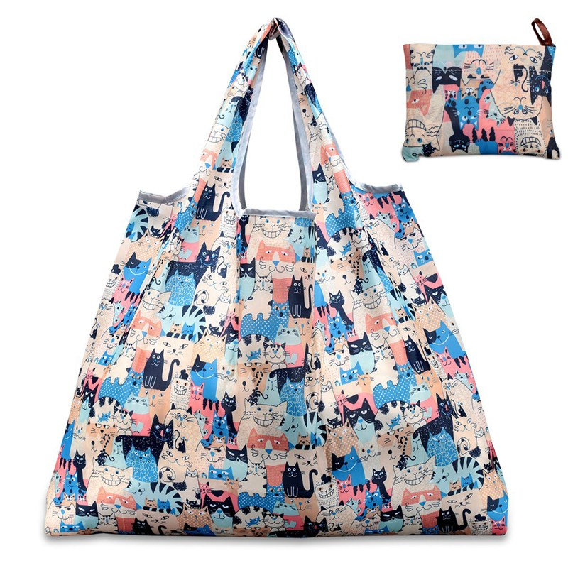 New 6 Colors Shopping Bag Lady Foldable Oxford Cloth Reusable Fruit Grocery Pouch Recycle Organization Bag