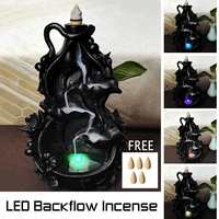 LED Ceramic Backflow Waterfall Smoke Incense Burner Censer Holder Home Office Teahouse Meditation Decor w/Free 5xIncense Cones