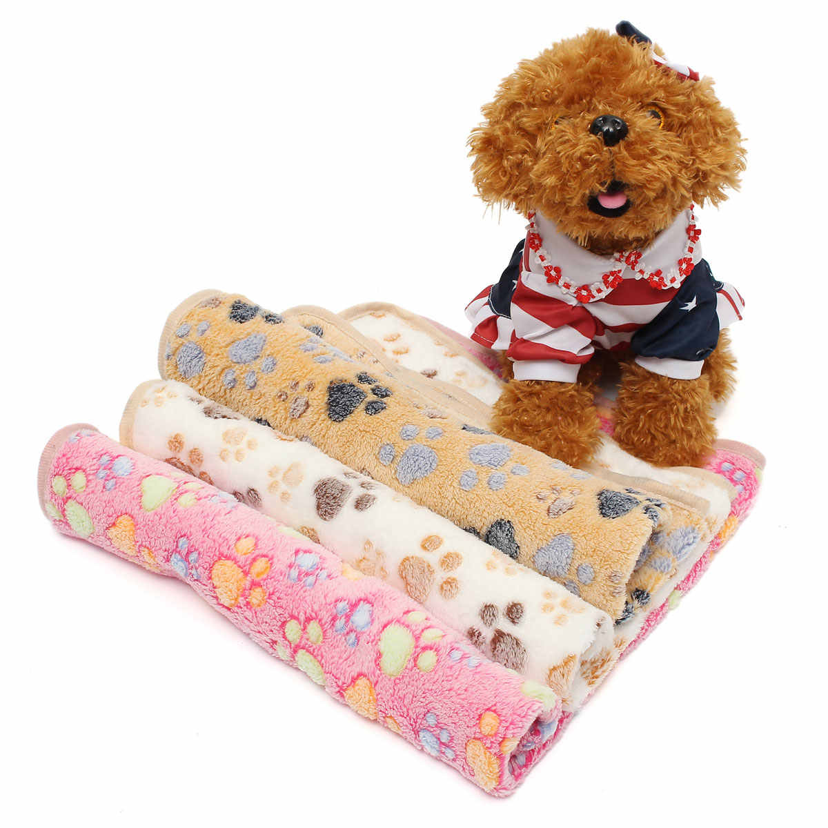 S サイズペットベッドマットソフト暖かい珊瑚のビロード足跡ペット子犬犬猫毛布ベッドマットソファペット暖かい製品クッションカバータオル