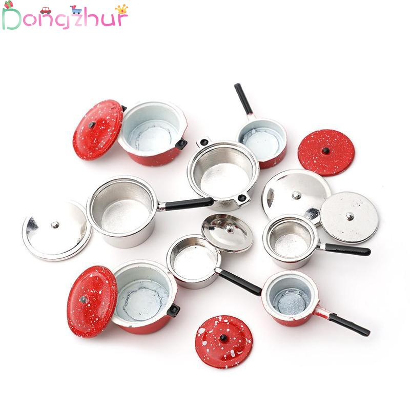 Dollhouse Miniature 1:12 Mini Pot Set Diy Doll House Kitchen Furniture Accessories Red Silver Soup Frying Milk Pan Dropshipping