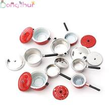 Dollhouse Miniature 1:12 Mini Pot Set Diy Doll House Kitchen Furniture Accessories Red Silver Soup Frying Milk Pan Dropshipping(China)