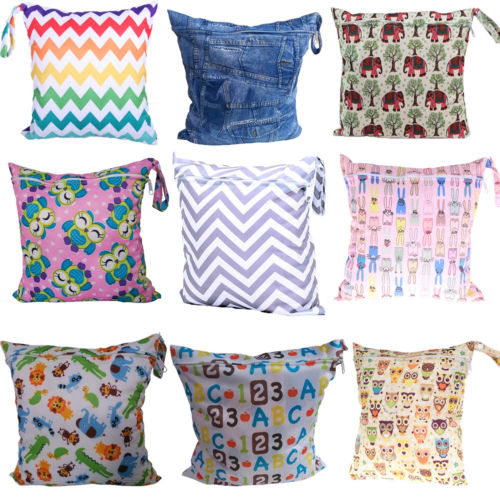 Waterproof  Reusable Wet Bag Washable Cloth Diaper Bag Nappy Bags Swim Sport Travel Bags Size 28cmx30cm