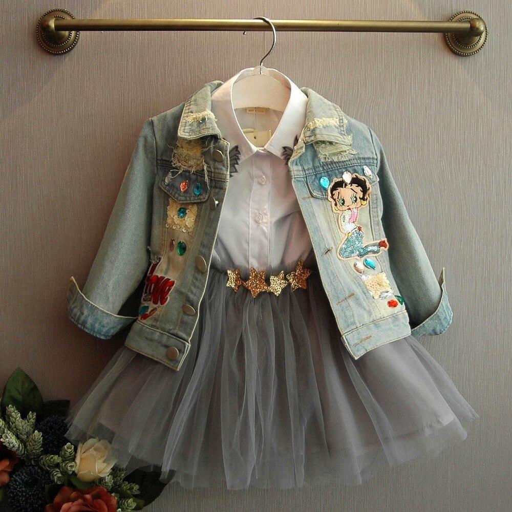 2 3 4 5 Years Girls Denim Jackets Sequins Cartoon Pattern Ripped Denim Jacket For Girls Fashion Long Sleeve Coat Kids Outwear