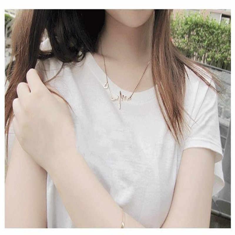الذهب اللون سلسلة القلب قلادة قلادة النساء التيتانيوم الصلب ضربات القلب قلادة الفضة الإناث المختنق القلائد مجوهرات فتاة هدية
