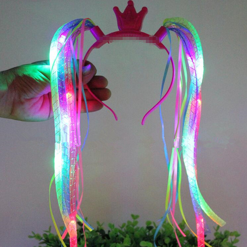 Apparel Accessories Girl's Accessories New Fashion New Novelty Led Flashing Flower Headband Hair Ornament Hairband Glowing Light Floral Wreath Children Girls Toys Christmas Party