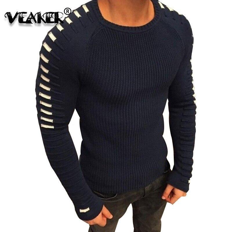 Men's Sweater Knitwear Pull Raglan-Sleeve O-Neck Woolen Slim Warm Autumn New Long 3D