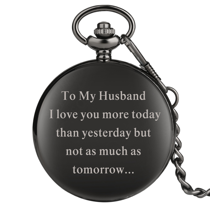 To My Husband Engraved Customized Quartz Pocket Watch Chain Jewelry Anniversary Gift For Lover And Couples Husband Love Souvenir