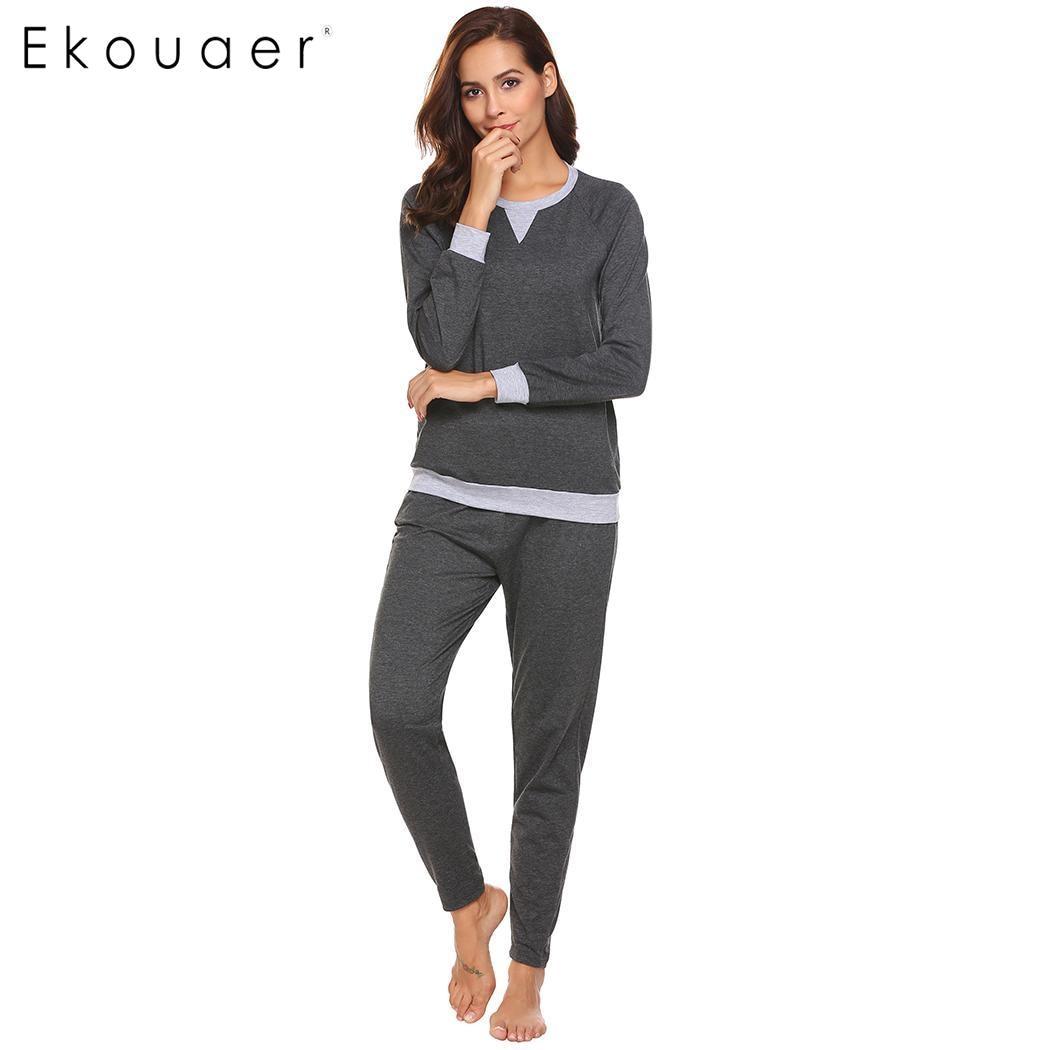 Ekouaer Women Sleepwear   Pajama     Sets   O-Neck Contrast Color Long Sleeve T-shirts with Long Pant   Pajamas     Set   Homewear Suit