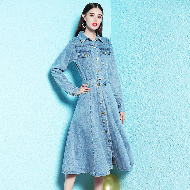 2019 Spring and Autumn long sleeved denim dress female women's fashion denim dress big swing dress spring nw18c2916-in Dresses from Women's Clothing    1