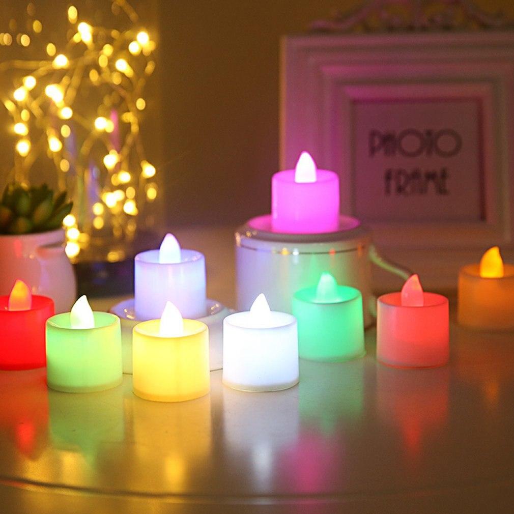1pc romántico Multi-color LED lámpara con forma de vela sin llama con pilas de la luz para cumpleaños decoración del banquete de boda venta al por mayor 2018 nueva