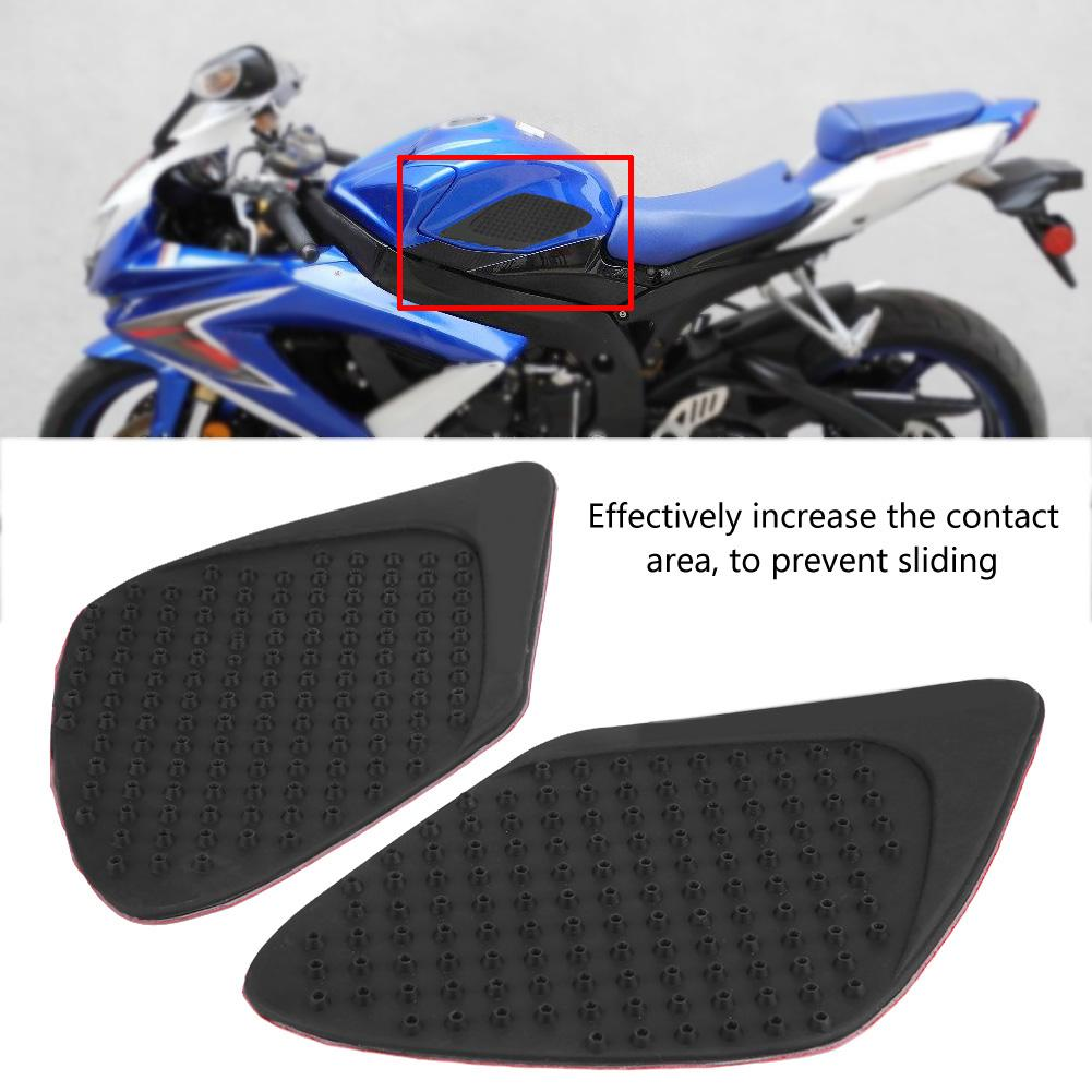 Painstaking Motorcycle Sticker Knee Protector Black Motorcycle Gas Tank Side Fuel Grip Pad With Fishbone Decal For Suzuki Gsxr1000 2007-2008 Perfect In Workmanship Decals & Stickers