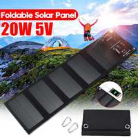 Outdoor 20W Waterproof Sun Power Folding Solar Cells Charger 5V 2A USB Output Devices Portable Solar Panels for Smartphones