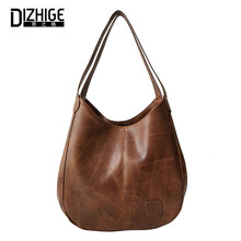 DIZHIGE Brand Womens PU Simple Solid Color Retro Wide Shoulder Strap Fashion Trend Wild Portable Large Capacity Bag