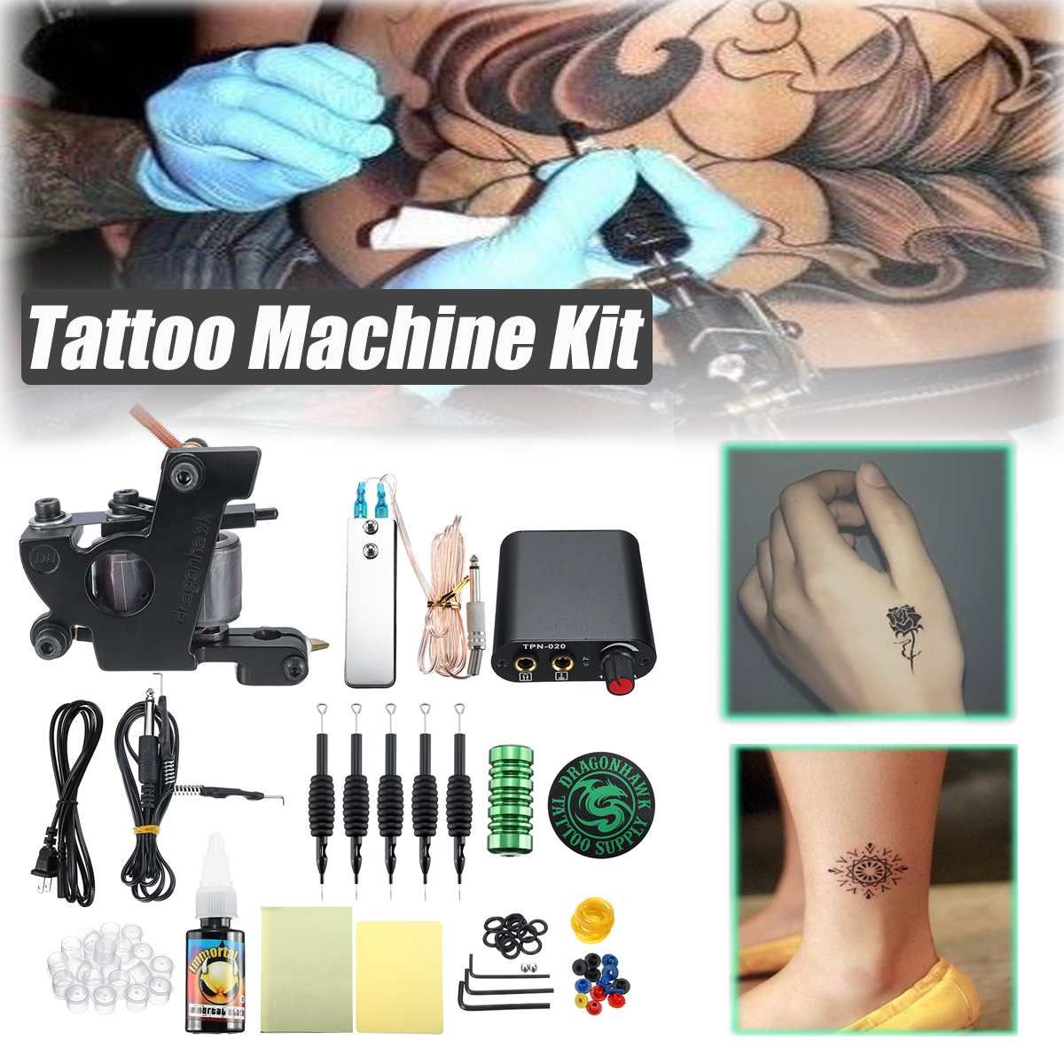 Beginner Tattoo Motor Machine Kit for Gun Ink Power Supply 5 Needle Tip Complete SetBeginner Tattoo Motor Machine Kit for Gun Ink Power Supply 5 Needle Tip Complete Set