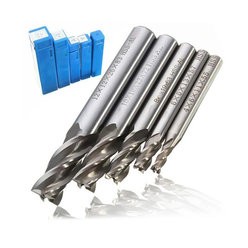 5pcs 6mm 4 Flute HSS /& Aluminium Rough End Mill Cutter CNC Bit 6*6*13*57mm