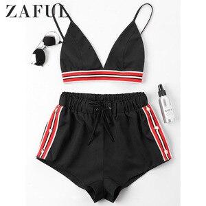 ZAFUL Women Sets Bra Two Piece Shorts Tracksuit Color Block Spaghetti Straps Sleeveless Tops High Waist Bottom Summer 2019 Femme