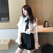 Spring Lace Bow Tie Shirt Ruffles Blouse 2019  Sweet Korean Shirts Women Tops Butterfly Sleeve Office Blouse