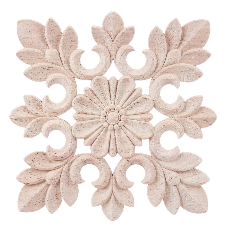 Home Storage & Organization Kitchen Storage & Organization Promotion 1x Rubber Wood Carved Floral Decal Craft Onlay Applique Furniture Diy Decor #c:20*20cm Wood Color Strengthening Sinews And Bones