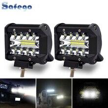 Safego, barra de luz LED de obra de 4 pulgadas y 60 W, 4x4, luz antiniebla, haz de luz de conducción, lámpara de trabajo para camión, barco, vehículo todoterreno, DC 12 V/24 V 6000K