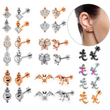 1pc Tragus Ear Cartilage Ring Helix Jewelry Labret Piercings 1.2*8*4mm Lip Studs Rook Lobe Piercing Body Jewelry Steel Rosegold(China)