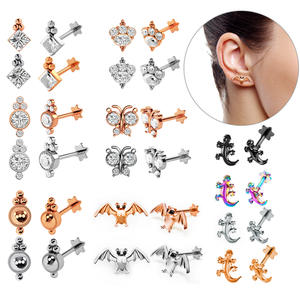 1pc Tragus Ear Cartilage Ring Helix Jewelry Labret Piercings 1.2*8*4mm Lip Studs Rook Lobe Piercing Body Jewelry Steel Earrings