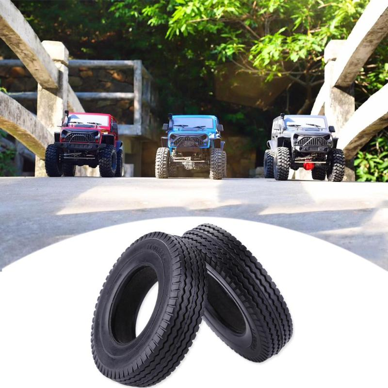 RC Car Toy 2pcs 1/14 Rubber <font><b>Trailer</b></font> Car Tyres for <font><b>Tamiya</b></font> Tractor Truck Universal Front and Back Tire RC Crawler Car <font><b>Parts</b></font> image