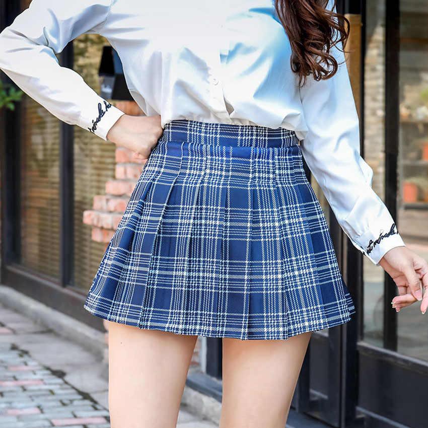Клетчатая Высокая талия женская школьная форма в японском стиле Студенческая плиссированная мини-юбка с безопасными брюки для косплей-костюма Jk костюм