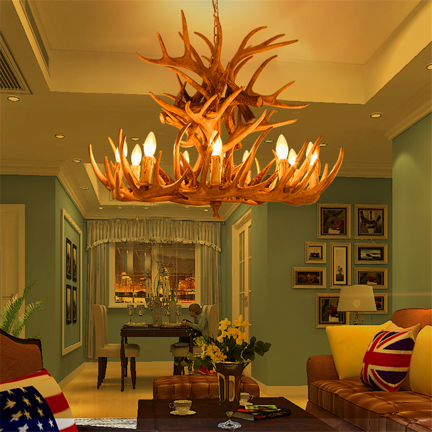 Vintage Candle Antler LED Chandelier Lighting American Retro Resin LOFT Horn LED Pendant Lamps Home Decoration Kitchen Fixtures in Chandeliers from Lights Lighting