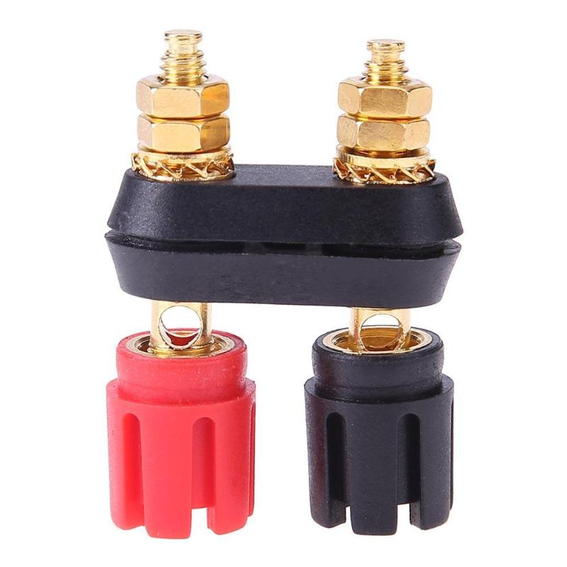 Kalevel 2pcs 2-Way Speaker Box Terminal Cup Square Binding Post Spring Loaded 93x80mm for DIY Home Car Stereo Subwoofer with 10pcs Screws