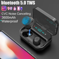 CVC 8.0 Bluetooth 5.0 TWS Wireless Earbuds Smart for Touch IPX7 Waterproof Stereo Earphone 3500mAh Power Bank Wireless Earphone