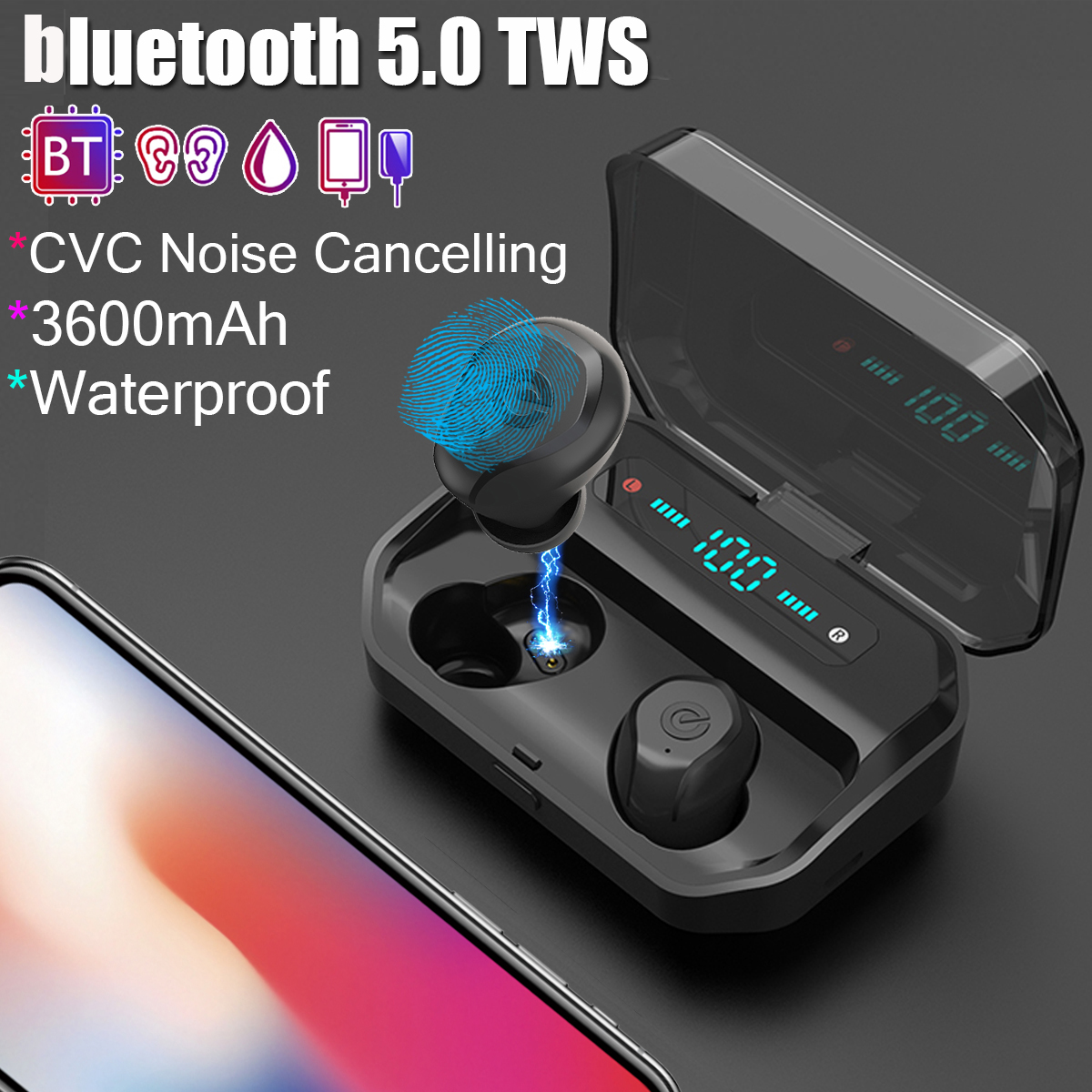 CVC 8.0 bluetooth 5.0 TWS Wireless Earbuds Smart for Touch IPX7 Waterproof Stereo Earphone 3500mAh Power Bank Wireless EarphoneCVC 8.0 bluetooth 5.0 TWS Wireless Earbuds Smart for Touch IPX7 Waterproof Stereo Earphone 3500mAh Power Bank Wireless Earphone