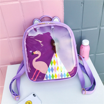 Women Candy Color Cat Ita Bag Korean School Bags for Teenage Girls PU Leather Jelly Transparent Backpack Rugtas Mochila Escolar women backpack candy color transparent bag lovely ita bag cat ear pu leather backpacks women bags for schoolbags teenage girls