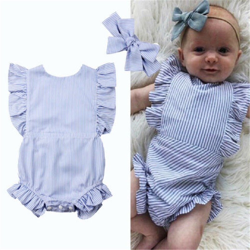 0-18 M Baby Mädchen Strampler Set Rüschen Kurzarm Babyspielanzug Striped Print Neugeborenen Bodys Nette Stirnband Baby Mädchen Kleidung Set