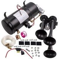 4 труба звуковой сигнал поезда комплект 150 фунтов/кв. дюйм 150db Air Системы с 3L 12 V воздушный компрессор
