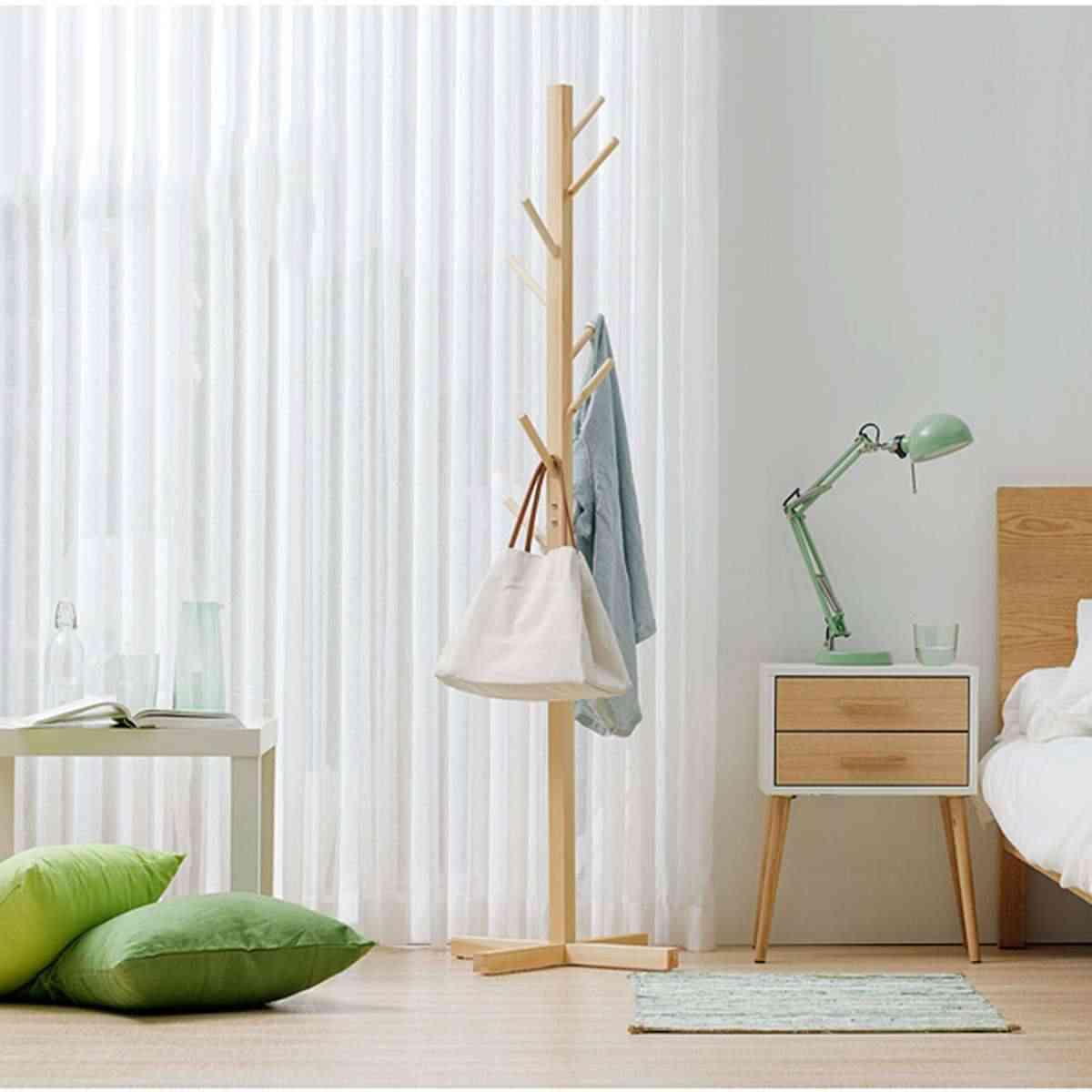 175cm Coat Rack Hanger Hook Wood Hat Cloth Scarve Bag Hanger Floor Standing Living Room Bedroom Furniture Wall White/Brown/Natur