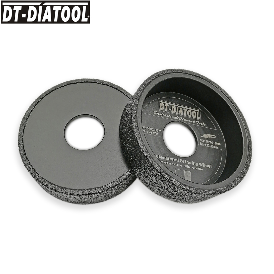DT DIATOOL 2pcs pk Dia 75mmx20 Vacuum Brazed Diamond Grinding Flat Wheel Arbor 22 23mm Sanding
