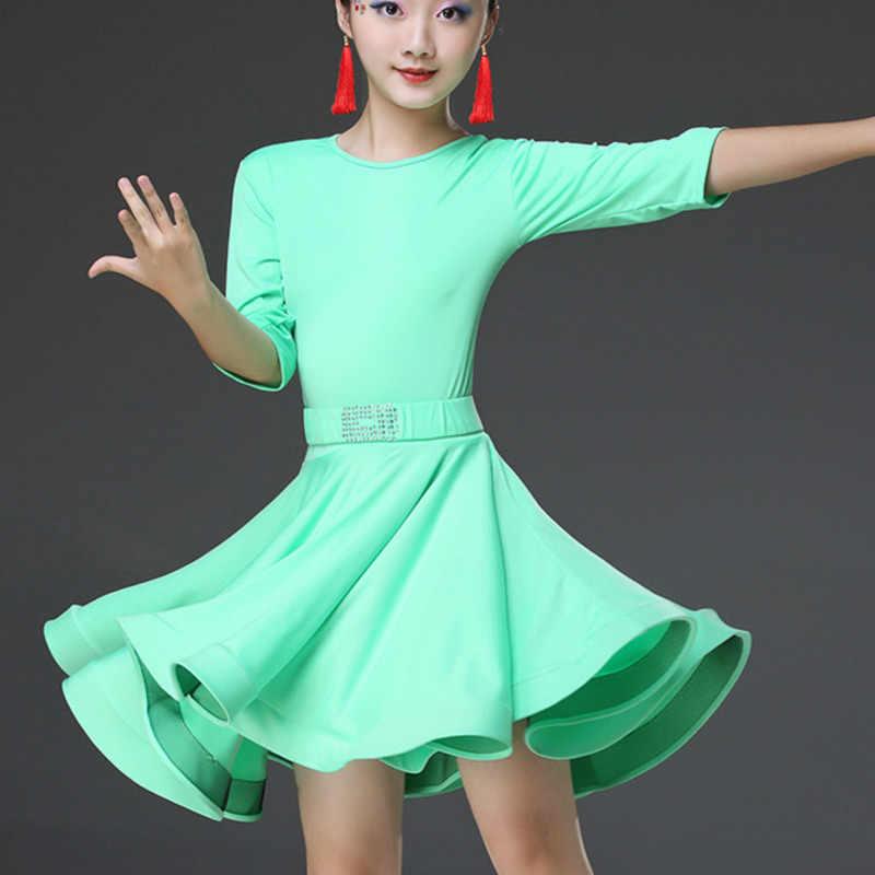 2019 платья для латинских танцев для девочек, бальное платье для танцев, бархатная детская юбка для танго для самбы, ча-ча, танго, стандартная Сальса