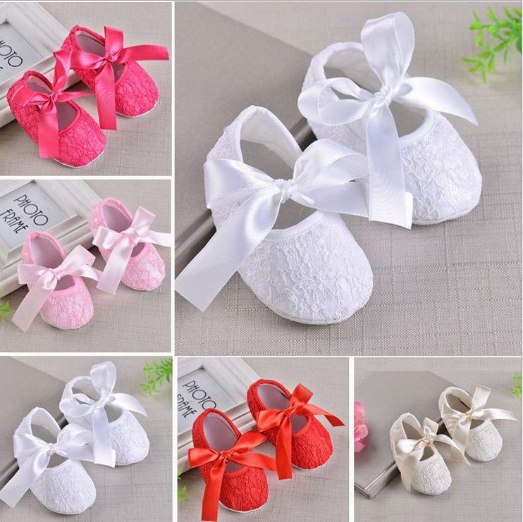 Cute Lace Flower  Newborn Baby Girl Crib Shoes Princess Lace Floral Soft Sole Sneaker Prewalker Riband Bandage Sweet Shoes