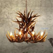 Nordic Candle Antler LED Chandelier Lighting American Retro Resin LOFT Pendant Lamps Home Decoration Kitchen Fixtures luminaire